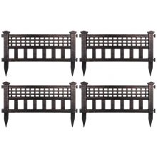 Woodside Bronze Decorative Plastic Garden Fence Panels, Border Edging (4 pack)