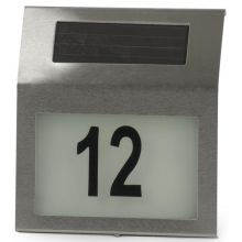 Solar Powered LED Illuminated House Door Number Light Wall Plaque