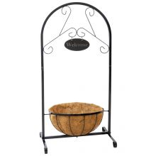 Woodside Hanging Coconut Flower Basket Planter Stand with Garden Welcome Sign