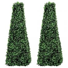 Woodside Topiary Obelisk Leaf Effect, Green 2ft Indoor Outdoor Decor (pack of 2)
