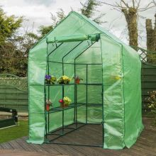 Woodside Walk In Greenhouse with PE Netted Cover - 14 Shelves