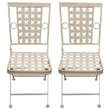 Woodside 2 x Square Metal Garden Chairs