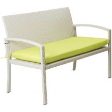 Woodside 2 Seater Cream Rattan Garden Bench