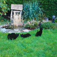 Set Of 3 Woodside Black Cat Garden Scarer Deterrent Pest/Bird/Rodent/Fox/Pond
