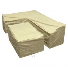 Woodside Sand L Shape Outdoor Dining Waterproof Patio Set Cover Rattan