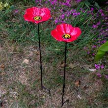 Woodside Cast Iron Poppy Flower Dish Bird Feeder (Pack of 2)
