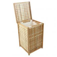 Woodside Large 80L Walnut Wood Lattice Laundry Basket/Bin Storage Box