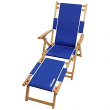 Woodside Southwold Sun Lounger, Folding Wooden Garden Chair with Footrest, Blue