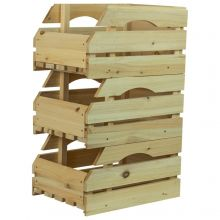 Woodside Universal Wooden Storage Boxes/Stackable Crates with Handles, Pack of 3