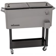 Woodside 76L Rolling House Party/BBQ Drinks Cooler, Cool Box Ice Bucket Cart