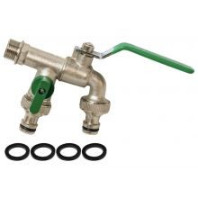 """Woodside Brass Nickelplated ½"""" Double Outlet Garden Tap, 2 x ¾"""" Hose Connectors"""