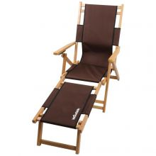 Woodside Southwold Sun Lounger, Folding Wooden Garden Chair with Footrest Coffee