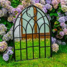 Woodside Wyton XL Decorative Arched Outdoor Garden Mirror, W: 70cm x H: 100cm