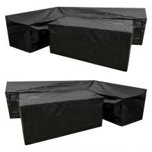 Woodside L Shape Outdoor Garden Corner Sofa & Table Dining Set Cover, Black