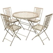 Woodside Round Metal Garden Table & Four Square Chairs