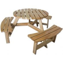 Maribelle 6 Seater Round Wooden Garden/Pub Bench - NATURAL