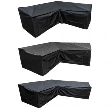Woodside L Shape Outdoor Garden Corner Sofa Cover, Black 600D Polyester, 3 Sizes