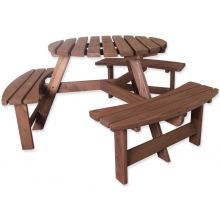 Woodside 6 Seater Round Pressure Treated Wooden Garden/Pub Bench