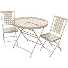 Woodside Round Metal Garden Table & Two Square Chairs