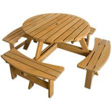 Maribelle 8 Seater Round Wooden Garden/Pub Bench - STAINED