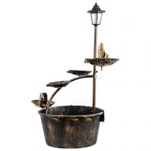 Woodside Water Fountain/Feature with 40W Solar Powered Light/Lamp, Mains Powered
