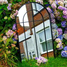 Woodside Oaken XL Decorative Arched Outdoor Garden Mirror, W: 65cm x H: 108cm