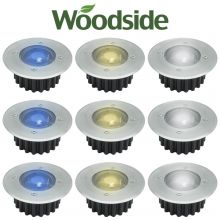 Solar Powered LED Deck Lights White or Blue Stainless Steel Decking Woodside