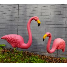 2 x Woodside Plastic Garden Lawn Figurine Flamingo Ornaments Pink Outdoor Decor