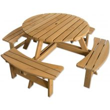 Maribelle 8 Seater Round Wooden Garden/Pub Bench - STAINED