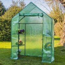 Woodside Walk In Greenhouse with PE Netted Cover - 6 Shelves