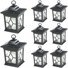 Woodside 6 x Solar Powered Hanging Candle Lanterns/Lamp/Coach Light