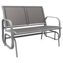 Woodside Grey 2 Seater Garden Glider Bench, Outdoor Rocking Swing Seat