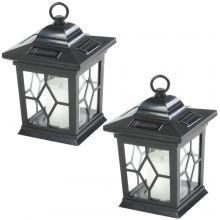 Woodside 2 x Solar Powered Hanging Candle Lanterns/Lamp/Coach Light