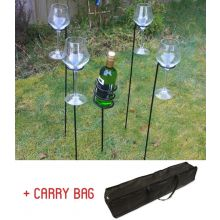 Woodside Outdoor Wine Bottle & Glass Holder Set With Carry Bag