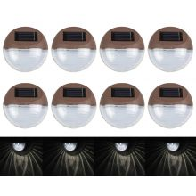 Woodside Set Of 8 Twin LED Solar Powered Garden Outdoor Fence/Deck Lights