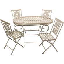 Woodside Oval Metal Garden Table & Four Square Chairs