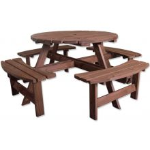 Woodside 8 Seater Round Pressure Treated Wooden Garden/Pub Bench