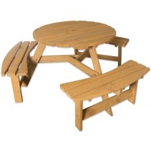 Maribelle 6 Seater Round Wooden Garden/Pub Bench - STAINED