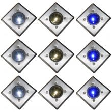 Solar Powered LED Deck Lights White or Blue Stainless Steel Decking Oxbridge