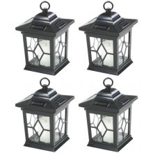 Woodside 4 x Solar Powered Hanging Candle Lanterns/Lamp/Coach Light