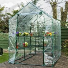 Woodside Walk In Greenhouse with PVC Cover - 14 Shelves