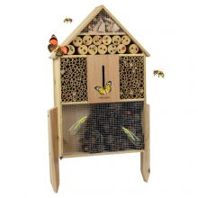 Woodside Standing Wooden Insect Hotel with Ground Stakes, Outdoor Bug/Bee House