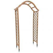 Woodside Wooden Garden Arch Archway Elegant Decorative Tan/Natural Wood + Ground Spikes