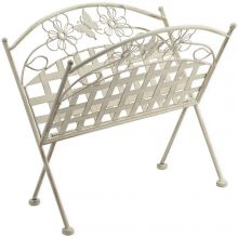 Maribelle Folding Rustic White Floral Design Magazine/Newspaper Rack Stand