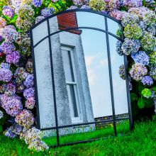 Woodside Byford XL Decorative Arched Outdoor Garden Mirror, W: 80cm x H: 110cm