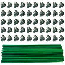 Woodside 50 x Bamboo Support Sticks/Cains with 100 Plastic Flower/Plant Clips