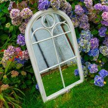 Woodside Oxshott XL Decorative Arched Outdoor Garden Mirror, W: 60cm x H: 100cm