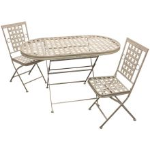 Woodside Oval Metal Garden Table & Two Square Chairs