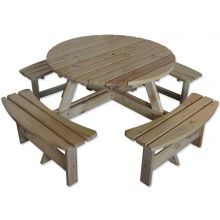 Maribelle 8 Seater Round Wooden Garden/Pub Bench - NATURAL