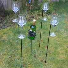 Woodside Outdoor Wine Bottle & Glass Holder Set